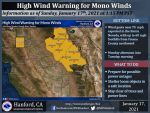 Weather Service Issues High Wind Warning – Mono Winds Possible Monday Afternoon and Tuesday – Possible Wind Gusts Near 75 MPH for Portions of Madera and Mariposa Counties (Including Yosemite National Park) and Northern Fresno County