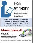 Kindles and eBook Use to Be Taught at the Mariposa Library on Saturday, February 23, 2019