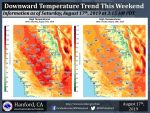 National Weather Service Projects a Downward Trend in High Temperatures this Weekend - Mariposa, Oakhurst and Yosemite Valley High Temps for Sunday in the 80's!