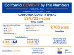 California State Officials Announce Latest COVID-19 Facts for Wednesday Afternoon, August 5 – 524,722 (Up 5,295 Over Tuesday's Report) Confirmed Cases, 9,703 Deaths (Up 202 Over Tuesday's Report)