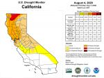 California and National Drought Summary for August 4, 2020, 10 Day Weather Outlook, and California Drought Statistics