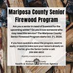 Mariposa County Senior Firewood Program Begins Wednesday, October 21, 2020