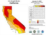California and National Drought Summary for January 12, 2021, 10 Day Weather Outlook, and California Drought Statistics