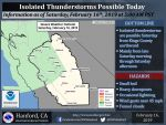 Possible Thunderstorms for Mariposa, Merced, and Oakhurst for Saturday