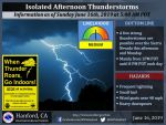National Weather Service Says Isolated Thunderstorms Possible Along the Sierra Nevada Today (Sunday) Through Monday