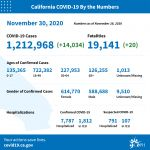 California State Officials Announce Latest COVID-19 Facts for Monday Afternoon, November 30 – 1,212,968 (Up 14,034 Over Sunday's Report) Confirmed Cases, 19,141 Deaths (Up 20 Over Sunday's Report)