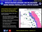 Winter Weather Advisory Continues for Mariposa, Madera, and Fresno County Foothills Above 1,500 Feet Until Sunday Afternoon