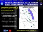 Winter Weather Advisory Issued for the Southern Sierra Nevada from Yosemite to Tulare/Kern County Line Above 6,000 Feet Beginning Sunday Morning, May 26